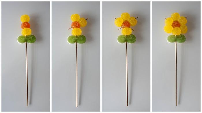 Paso a paso de cómo hacer flores de gominolas