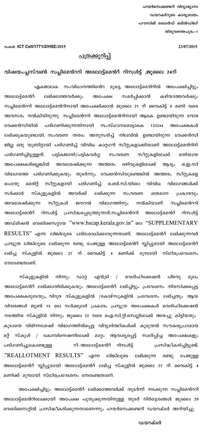 kerala plus one supplementary allotment 2015, plus one supplementary allotment list 2015 hscap, kerala hscap plus 1 supplementary allotment result 2015, check plus one supplementary allotment result 2015 online, plus one supplementary allotment 2015 date, +1 supplimentry allotment 2015, +1 supplementary allotment date, supplementary allotment plus one 2015-16, kerala plus one supplementary allotment list 2015-16, hscap supplementary allotment 2015 list kerala, +1 single window admission, SWS, Ekajalakam plus 1 allotment result 2015, supplementary allotment result link 2015, When will be publish the plus one (+1) first supplementary allotment result 2015