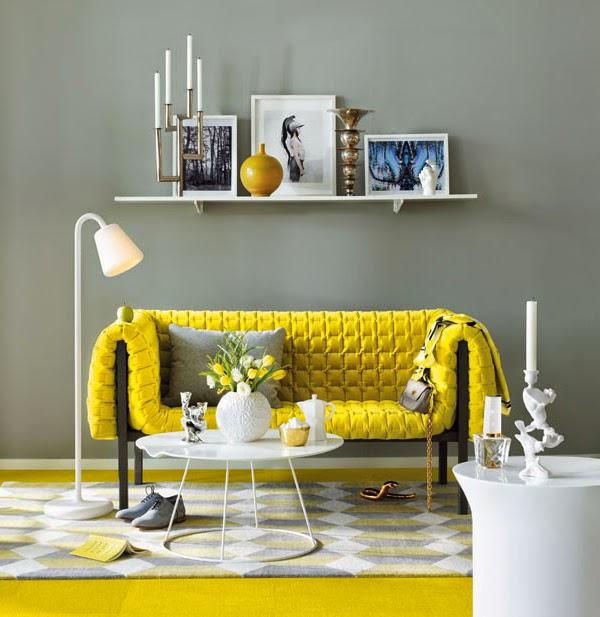 Decoração de sala em amarelo e cinza
