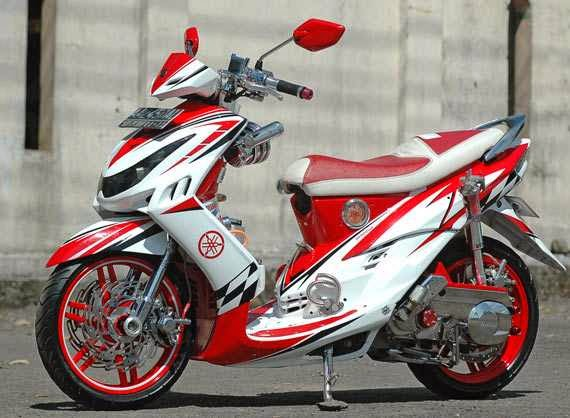 ide modifikasi motor mio sporty warna merah