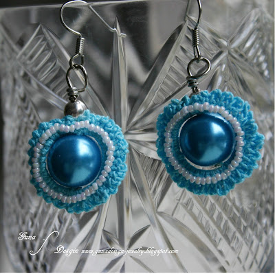 Irish crochet earrings with beads made by Gunadesign