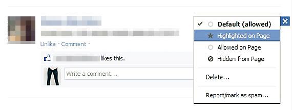 """Alegeti """"Highlight on Page"""" pentru a evidentia mesajele fanilor de pe Facebook"""
