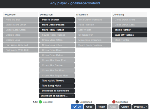 Football Manager Player Instructions Goalkeeper defend