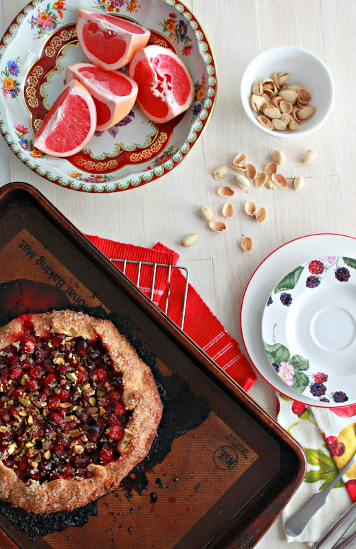 cranberry galette, easy cranberry pie, grapefruit sugar