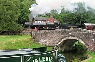 NB Valerie & Steam Train by Les Biggs