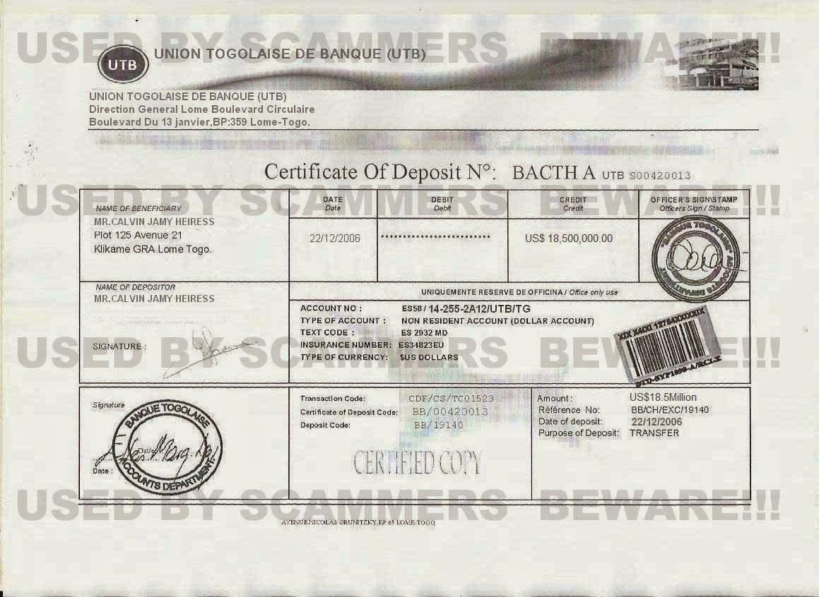 Fraud fyi fake certificate of deposit claim letter to utb bank deposit certificate of mrlvin jamy heiress 1g 1betcityfo Images