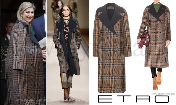 Queen Maxima wore Etro Checked Wool And Alpaca Blend Coat in Brown.