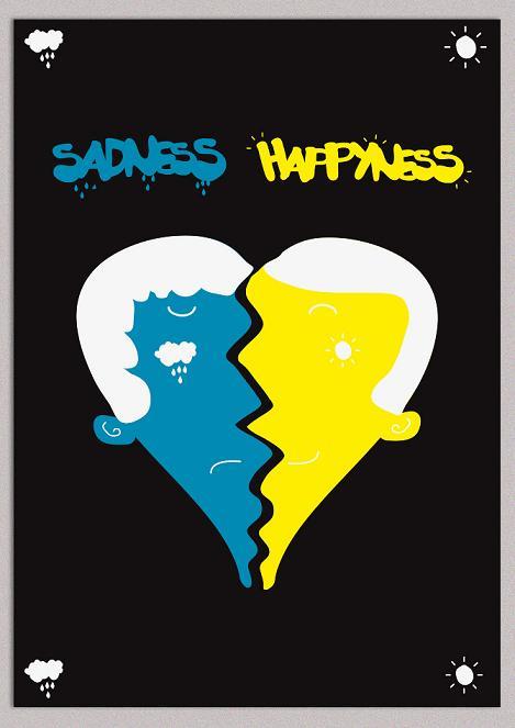 tristeza felicidade ilustração sadness happyness