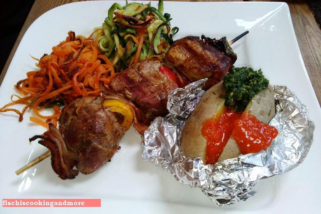 fischiscooking,grillspieße, gemüsespaghetti