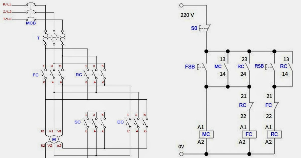Forward Reverse 3 Phase AC Motor Control Wiring Diagram | Electrical ...