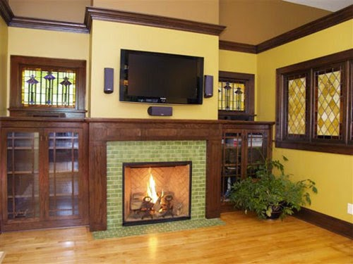 castle brick fireplace with tile frame