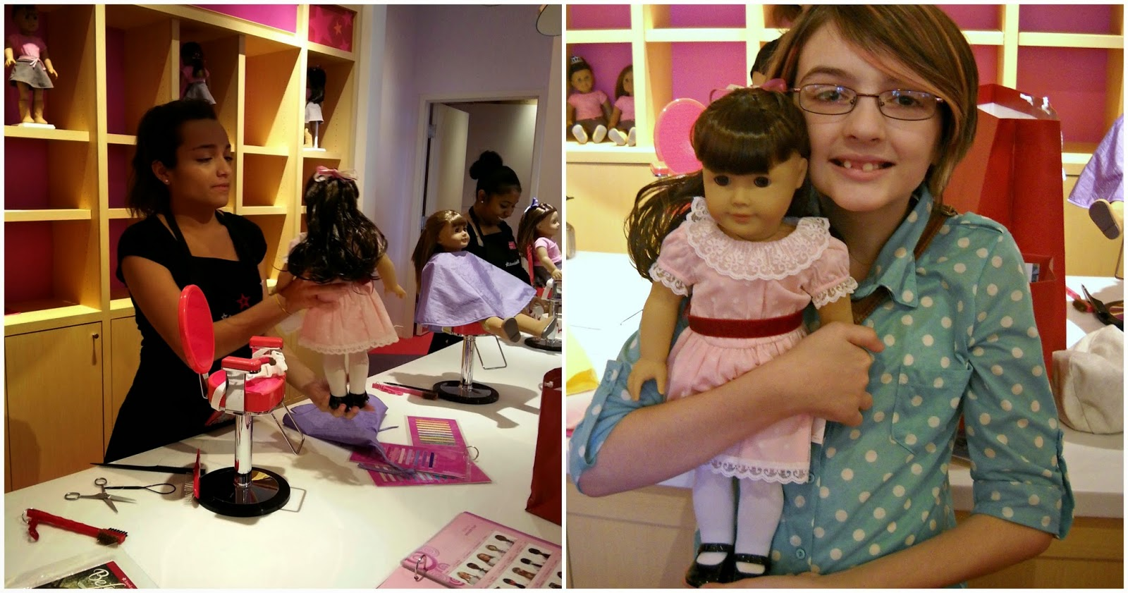 Katarina with her Samantha doll after her hair was styled at the American Girl Doll hair salon