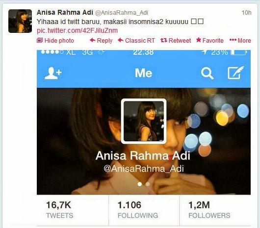 Annisa telah mengganti nama akun twitternya