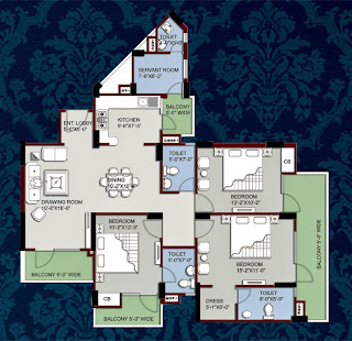 Kings Tower :: Floor Plans:-3 Bedroom + 3 Toilet + Kitchen + Dining + 4 Balconies Super Area - 1850 Sq. Ft.