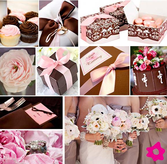 Casando e Amando Decoração Casamento Marrom e rosa