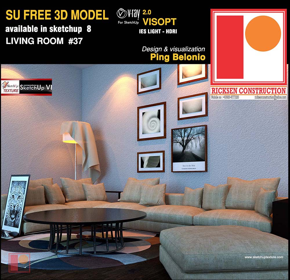 Free sketchup 3d model modern living room 37 vray visopt for Living room 3d model