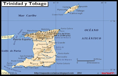 TRINIDAD Y TOBAGO, Mapa de TRINIDAD Y TOBAGO, relieve, Atlas
