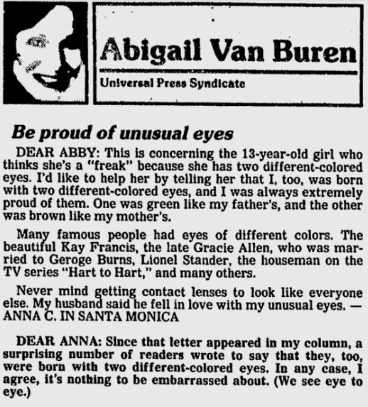 Abigail Van Buren column letter about different eye colors