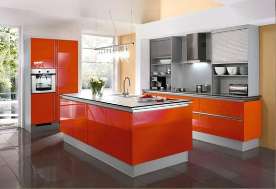 Fotos de cocinas naranjas colores en casa for Cocina moderna de color