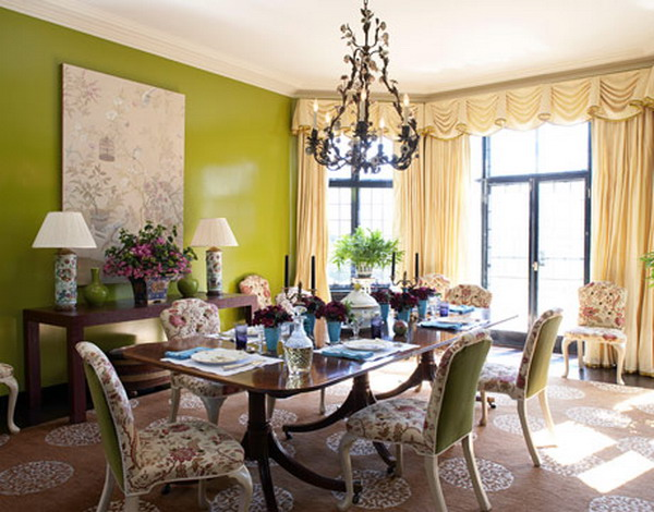 Green interior designs for modern and classical home for Dining room decorating ideas 2012