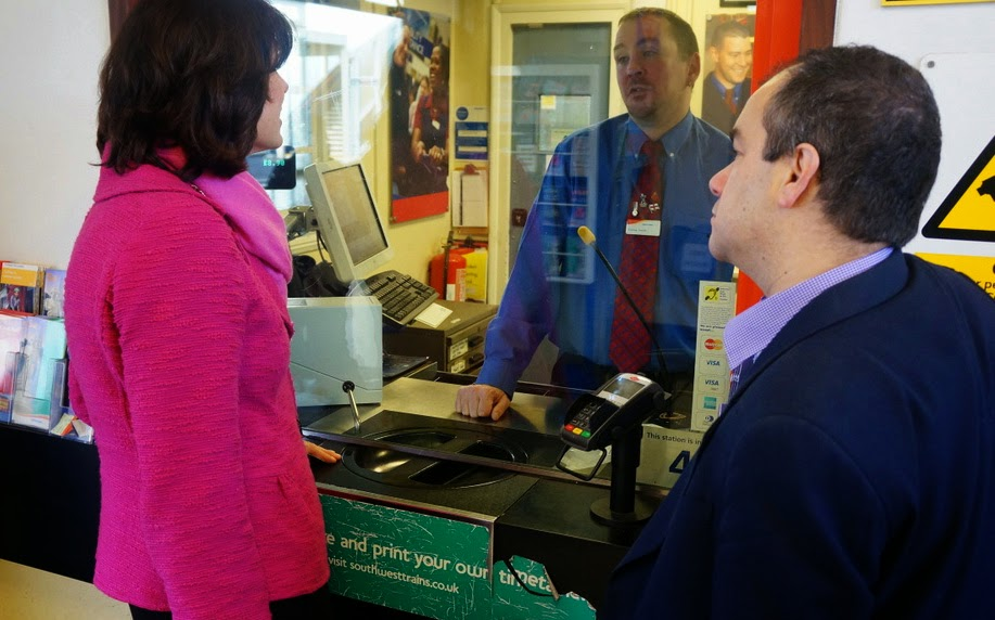 Transport Minister Claire Perry and Paul Scully at Worcester Park station ticket office