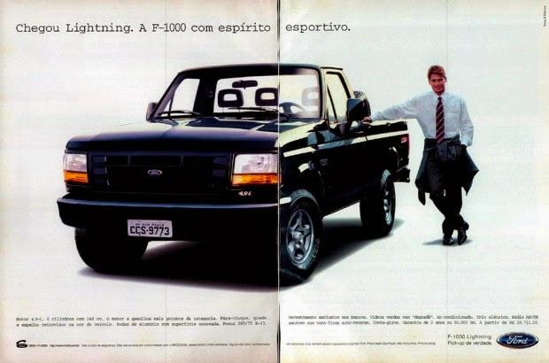 Propaganda da Ford F-1000 Lightning apresentada em 1998.