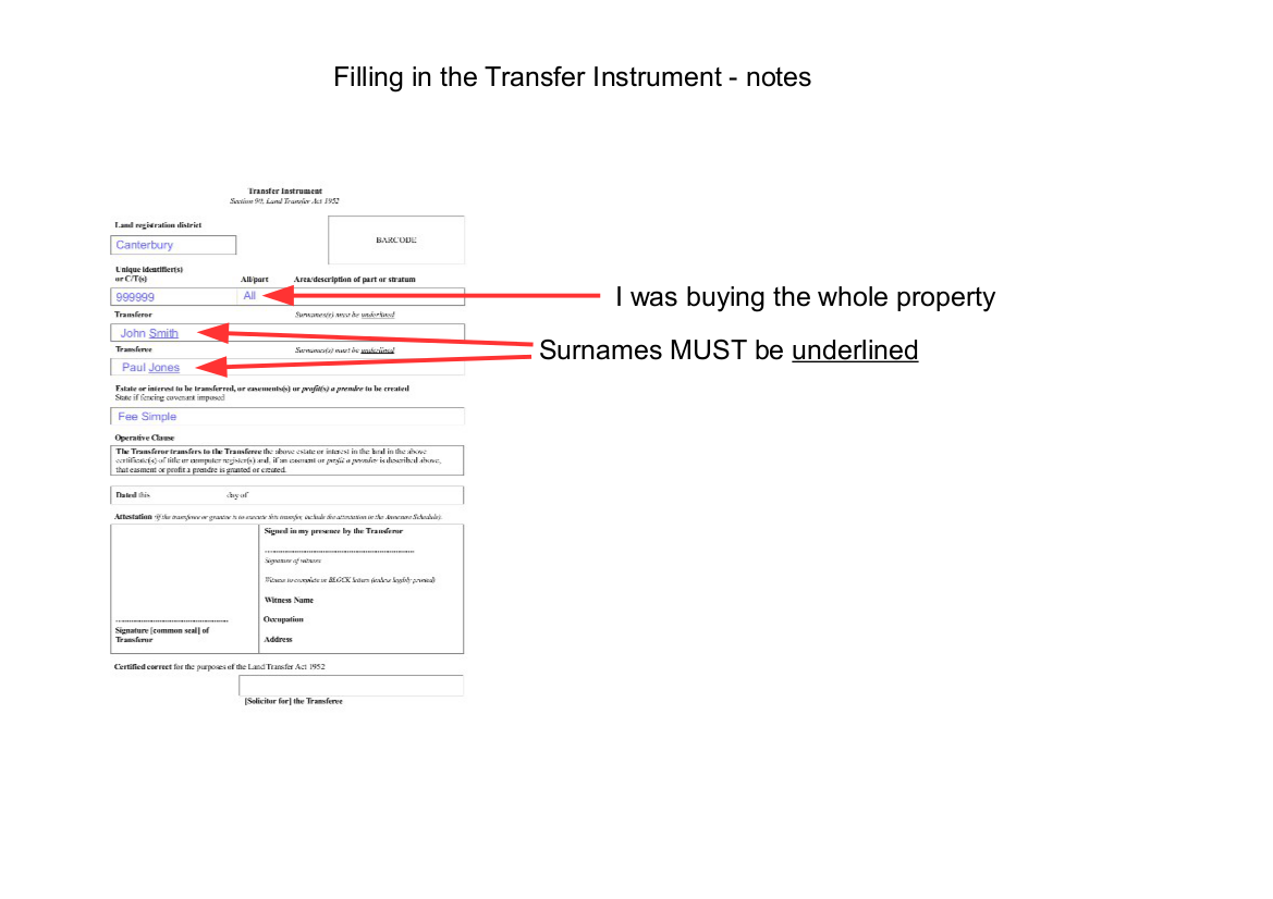 Diy conveyancing in new zealand diy conveyancing nz the transfer once you have filled in the details from the title you can send a copy of the transfer instrument to the vendor or the vendors solicitor so that the vendor solutioingenieria Image collections