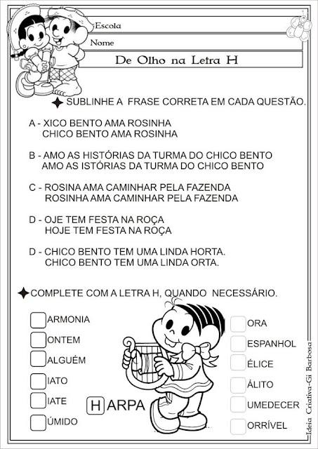 Atividade Uso da Letra H Chico Bento e Rosinha