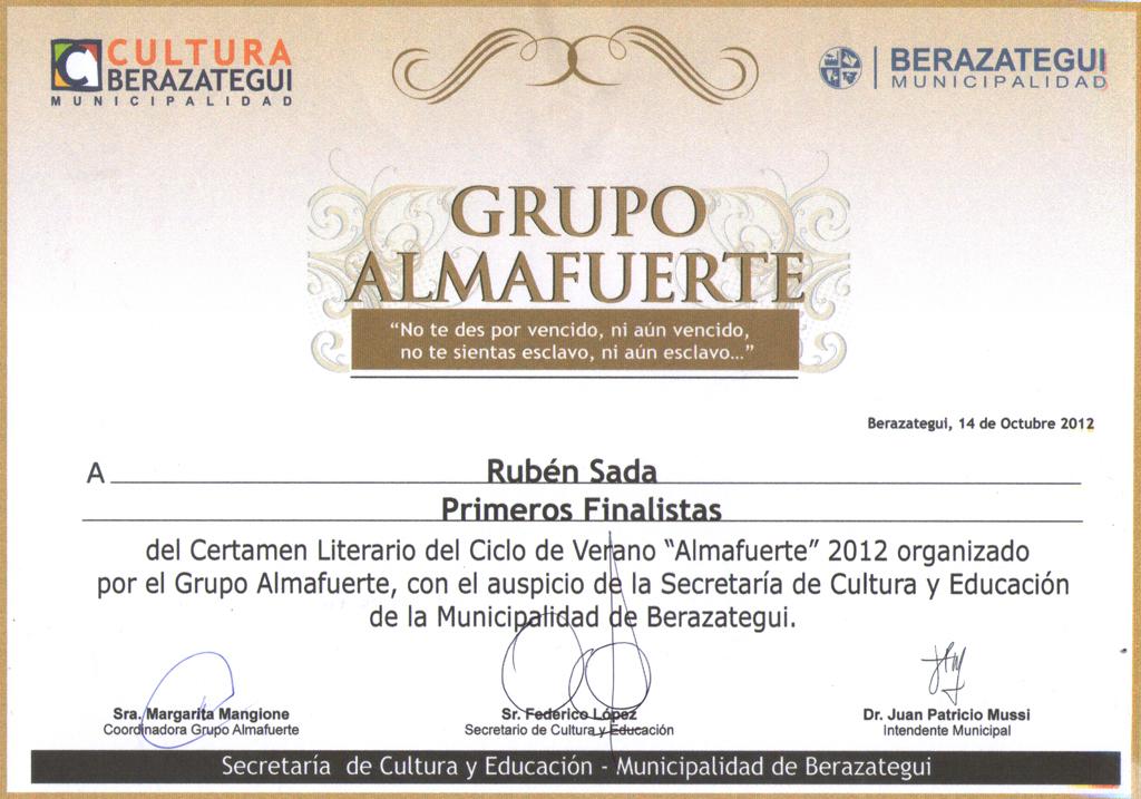 Premio al poema EULOGIA TAPIA UNA MUJER de Rubén Sada