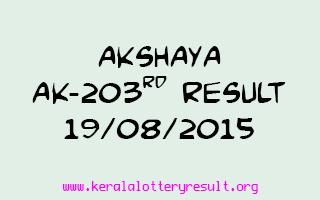 Akshaya AK 203 Lottery Result 19-8-2015