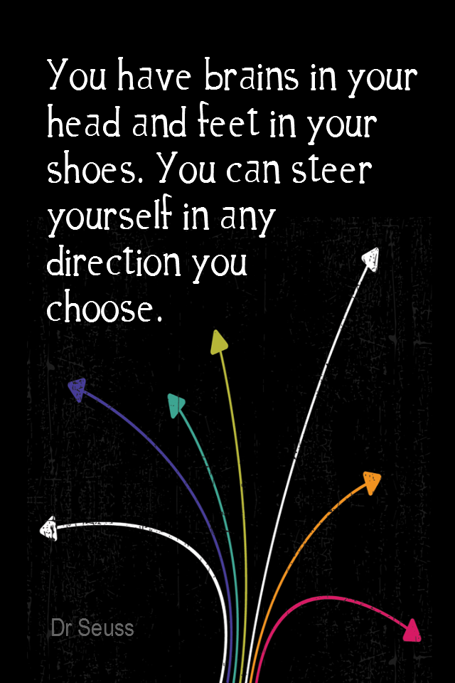 visual quote - image quotation for Direction - You have brains in your head and feet in your shoes. You can steer yourself in any direction you choose. - Dr Seuss