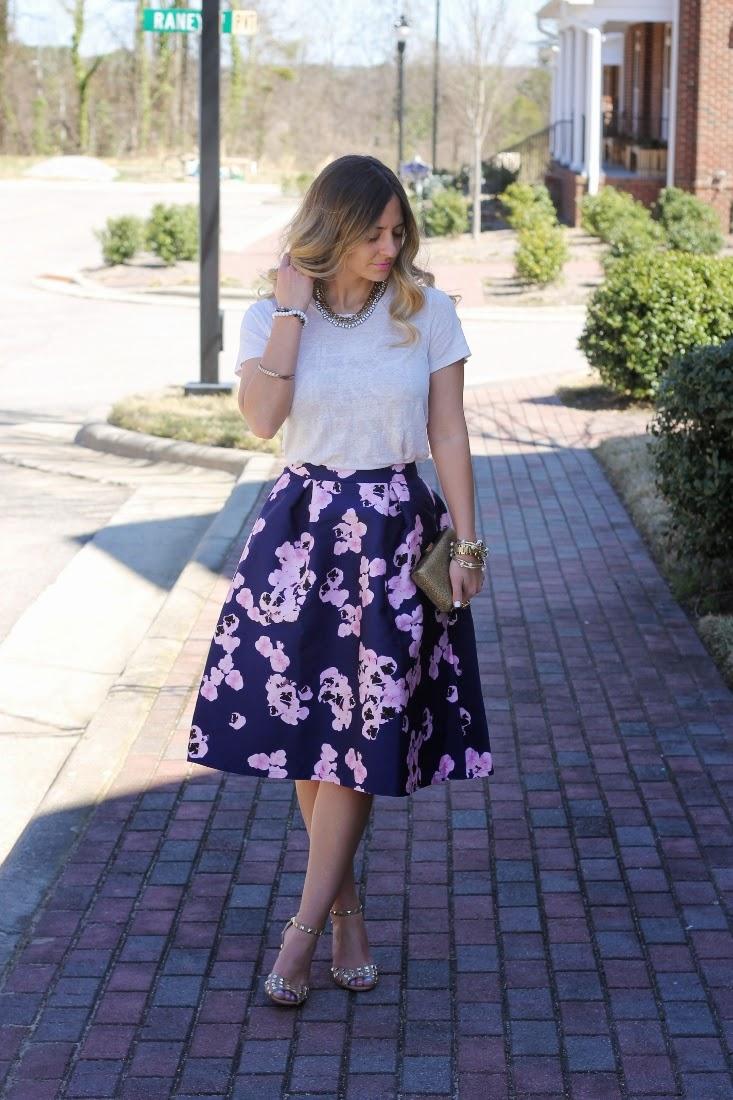 Purple Floral Print Boohoo Midi Skirt