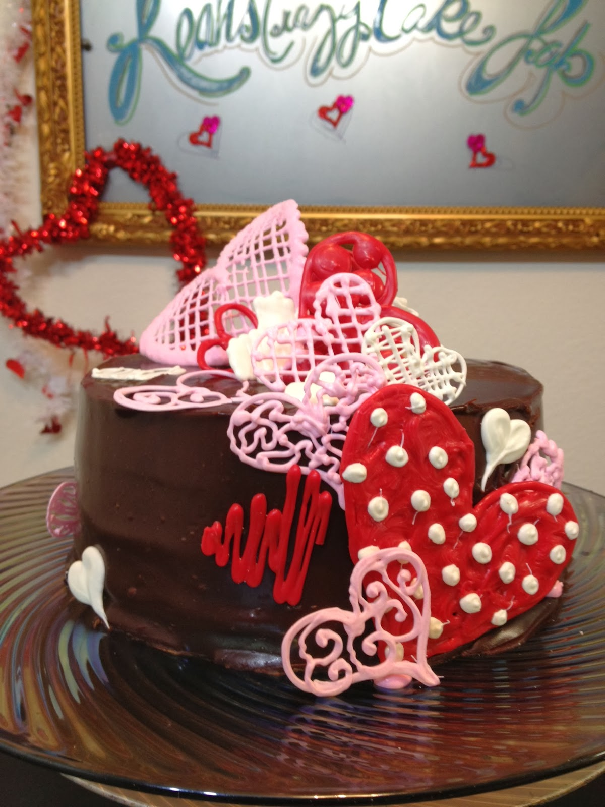 Leahs Crazy Cake Lab Sweet Hearts Chocolate Cake In Ganache And