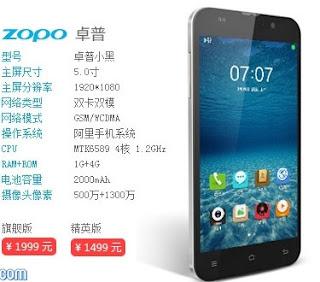 Zopo Small Black, Smartphone Dengan OS Yun Resmi Dirilis