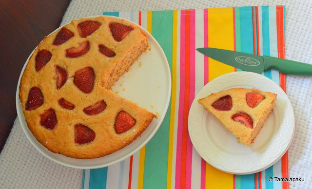 Eggless Summer Strawberry Cake
