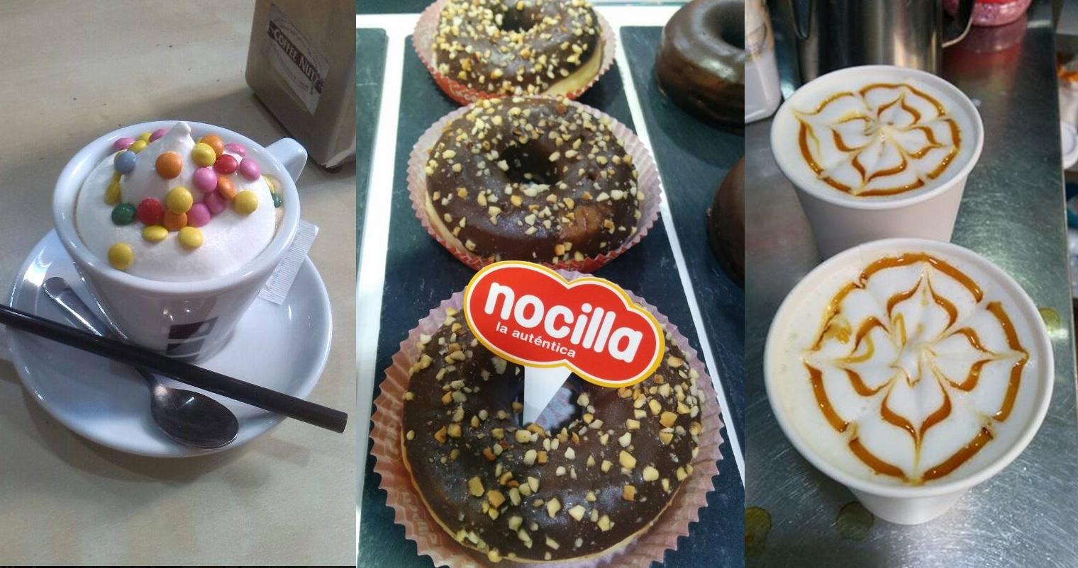 Café con lacasitos, donuts de nocilla y cafés