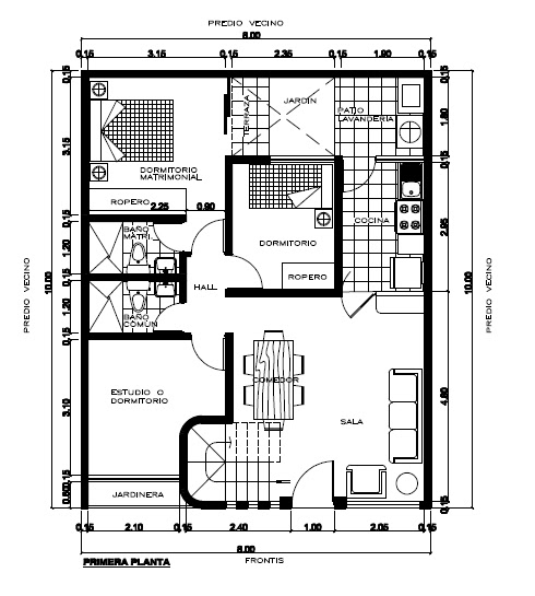 plano de casa de 8 x 20 metros
