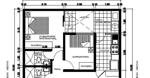 Planos de viviendas gratis plano de 8 x 20 m en pdf for Planos de casas 90m2