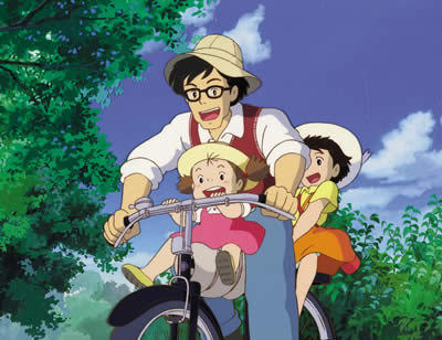 Mei and Satsuki riding a bike with dad in My Neighbor Totoro 1988 animatedfilmreviews.blogspot.com