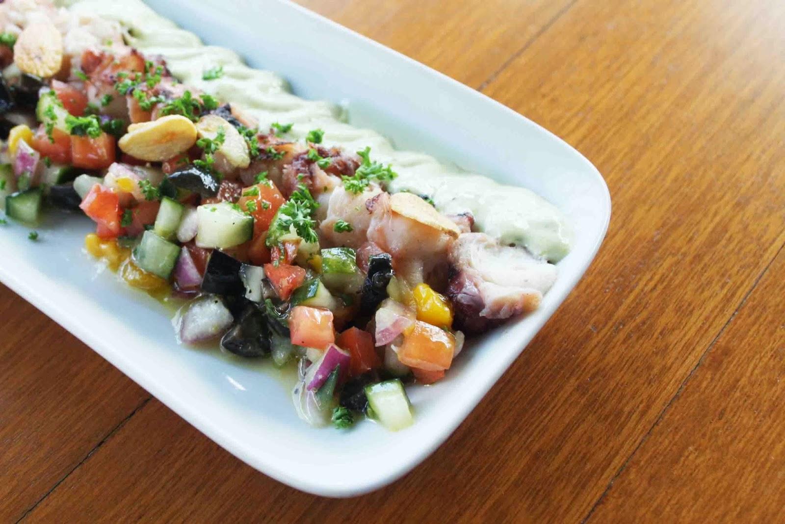 Grilled Octopus, Green Romesco, Black Olive Salsa Black Olive Cerveceria