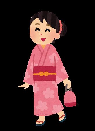 浴衣を着た女性のイラスト