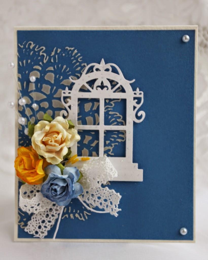 открытка ручной работы синий объемная паста