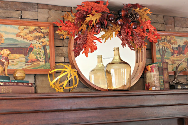 Fall mantel in rustic family room with stone fireplace-www.goldenboysandme.com