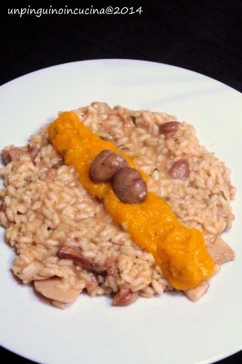 risotto con castagne e porcini mantecato alla crema di zucca