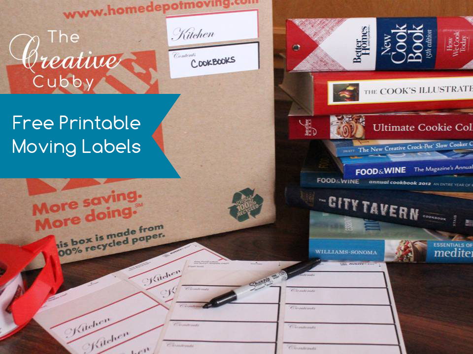 graphic about Printable Moving Labels titled The Inventive Cubby: Cost-free Printable Shifting Labels