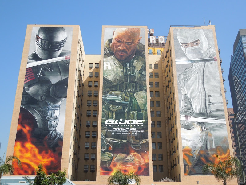 Giant GI Joe Retaliation movie billboards Hotel Figueroa