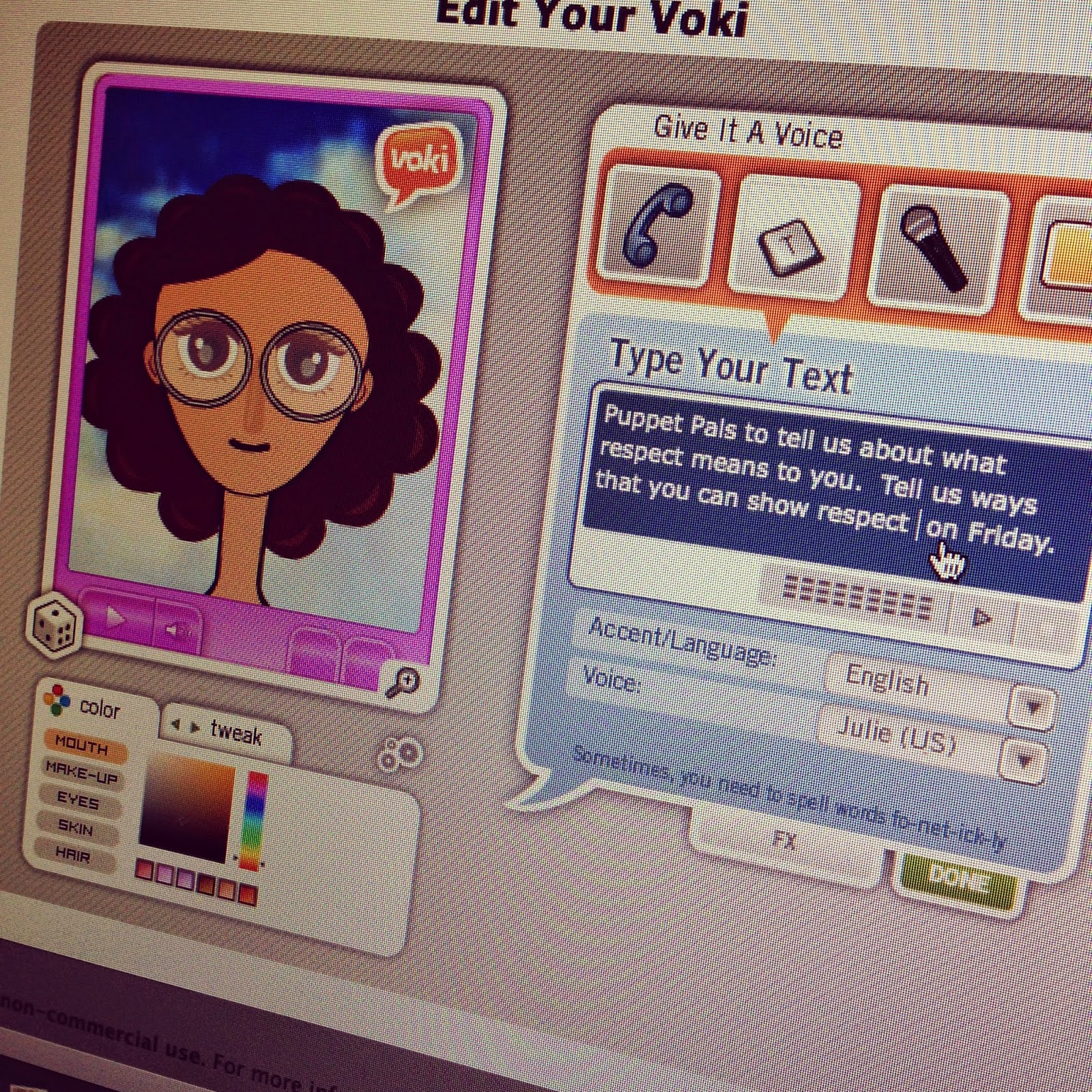 Photo of Voki Screenshot