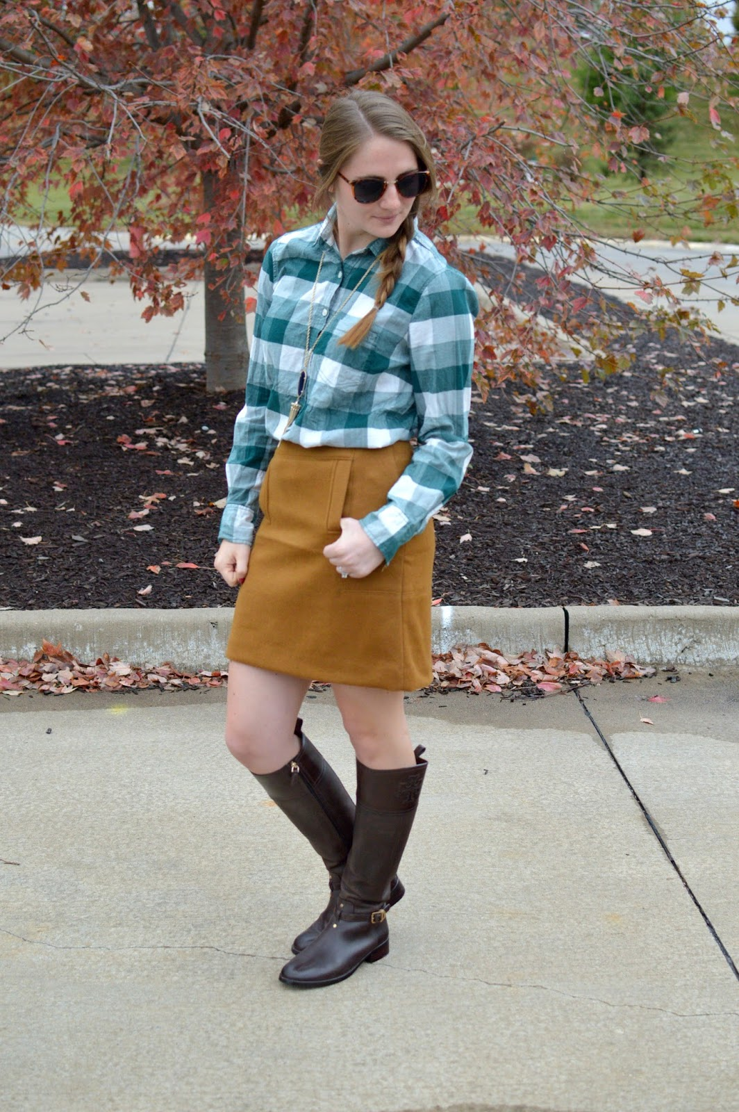 green check top with suede skirt