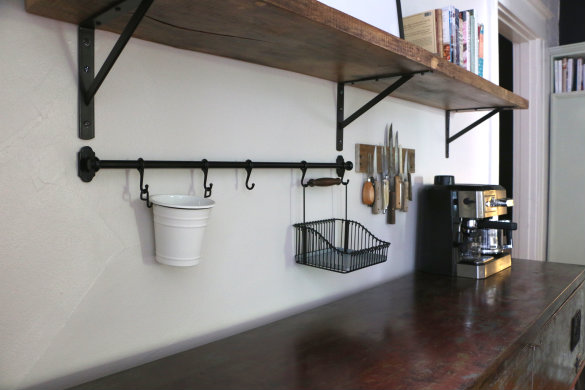 The Whole Concept Is An Exposed Rail For The Wall Where You Can Hang  Different Attachments From The Rail Hooks For Storage.