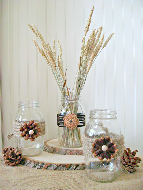Pine Cone Flower Embellished Mason Jars